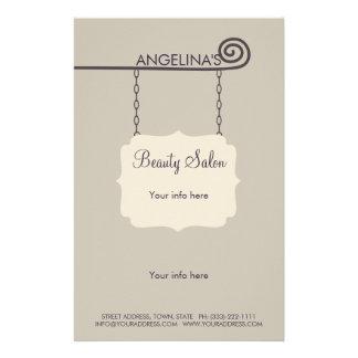 Beige Vintage Schild-Schönheits-Salon-Preisliste 14 X 21,6 Cm Flyer