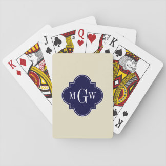 Beige, weiße Anfangsmonogramm des Marokkaner-#5 Pokerdeck