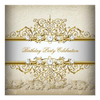 Beige weißes Goldcreme-elegantes Party Personalisierte Ankündigungskarten