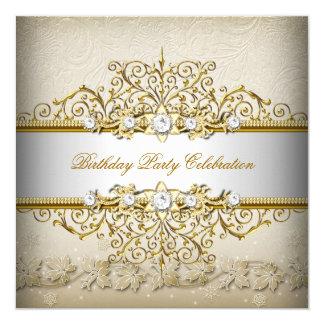 Beige weißes Goldcreme-elegantes Party Quadratische 13,3 Cm Einladungskarte