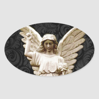 Beileids-Friedhof Erinnerungsleid-gotischer Engel Ovaler Aufkleber
