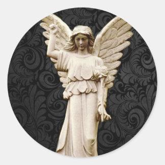 Beileids-Friedhof Erinnerungsleid-gotischer Engel Runder Aufkleber