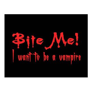 Beißen Sie mich, den ich will, um ein Vampire zu Postkarte