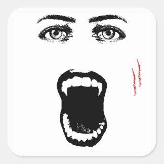 Beißen Sie mich Vampirs-Halloween-Aufkleber Quadratischer Aufkleber