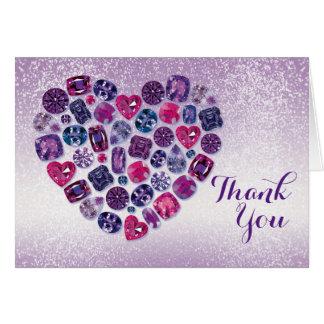 Bejeweled Herz danken Ihnen Anmerkungs-Karte Karte