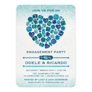 Bejeweled Herz-Verlobungs-Party Einladungen
