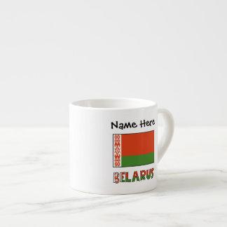Belarussische Flagge und Weißrussland mit Namen 2 Espressotasse