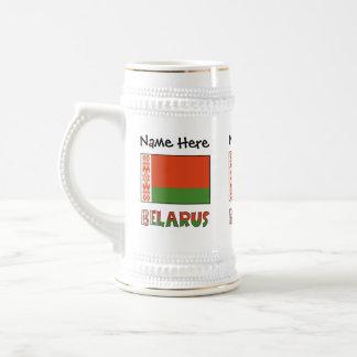 Belarussische Flagge und Weißrussland mit Namen 3 Bierglas