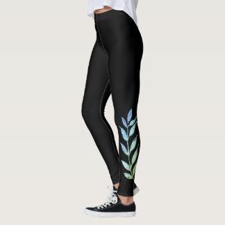 Belaubtes mit Beinen versehenes Entwurfs-Schwarzes Leggings