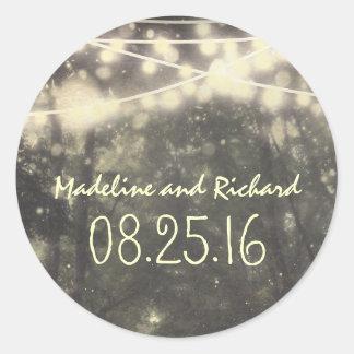 beleuchtet rustikale Hochzeitsaufkleber Runder Aufkleber