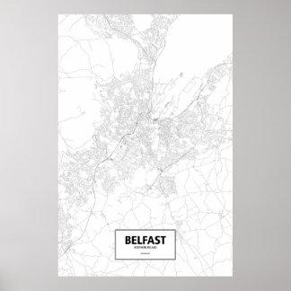Belfast, Nordirland (Schwarzes auf Weiß) Poster