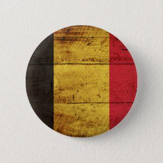 Belgien-Flagge auf altem hölzernem Korn Runder Button 5,7 Cm