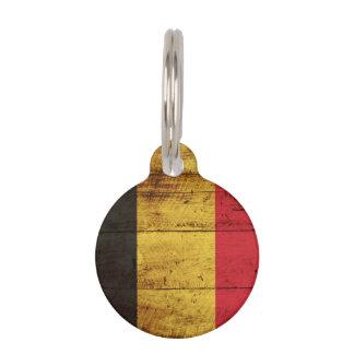 Belgien-Flagge auf altem hölzernem Korn Tiermarke
