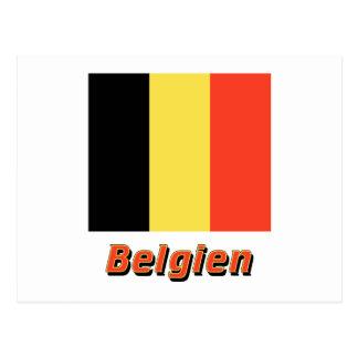Belgien Flagge MIT Namen Postkarte