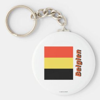 Belgien Flagge MIT Namen Standard Runder Schlüsselanhänger