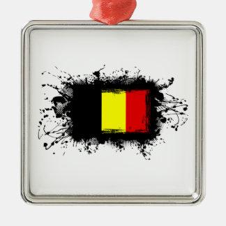 Belgien-Flagge Silbernes Ornament