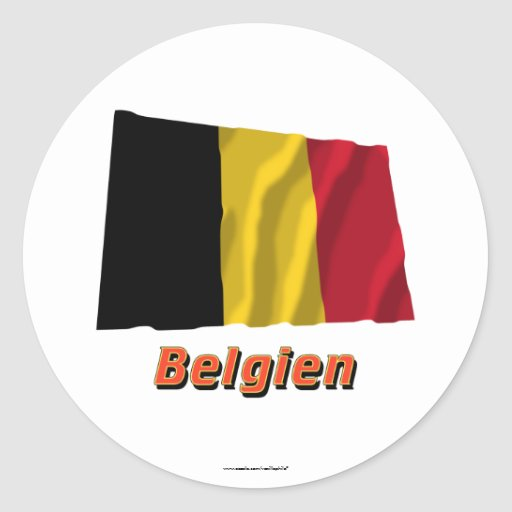 Belgien Fliegende Flagge MIT Namen Runder Aufkleber