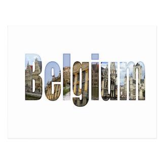 Belgien-Touristenattraktionen in den Buchstaben Postkarte