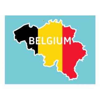 Belgienkarte und -flagge postkarte