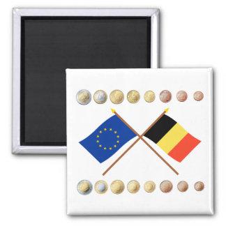 Belgische Euros und EU- u. Belgien-Flaggen Quadratischer Magnet