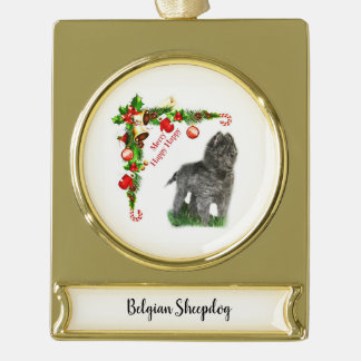 Belgischer Schäferhund Banner-Ornament Gold