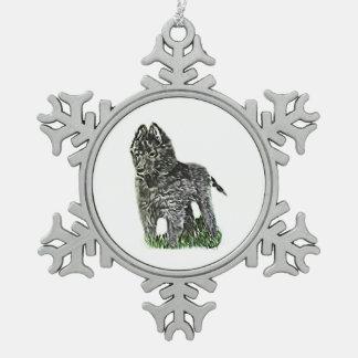 Belgischer Schäferhund Schneeflocken Zinn-Ornament