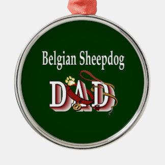 Belgischer Schäferhund-Vati Silbernes Ornament