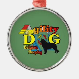 Belgisches Schäferhund-Agility Silbernes Ornament