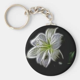 Belichtet wie Kontur einer weiße Lilie Blume Schlüsselanhänger