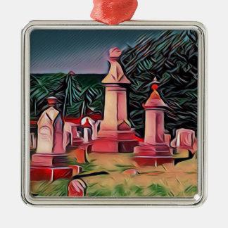 Belichtete Graveyard-Grabsteine Silbernes Ornament