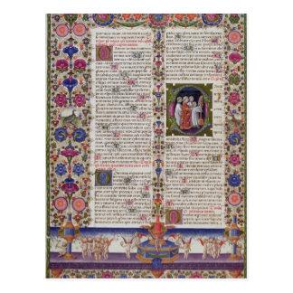 Belichtete Seite vom Buch der Psalme Postkarte