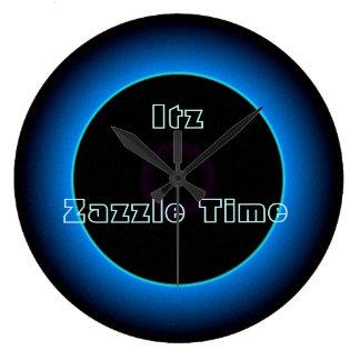 """Belichtetes """"Itz Zazzle Zeit-"""" Text >Wall stoppt Große Wanduhr"""