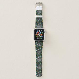 Belichtetes modernes blaues lila Fraktal-Muster Apple Watch Armband