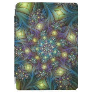 Belichtetes modernes blaues lila Fraktal-Muster iPad Air Hülle