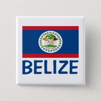 Belize-Flaggen-kundengerechter blauer Text Quadratischer Button 5,1 Cm