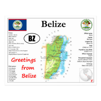 Belize-Karten-Postkarte Postkarte