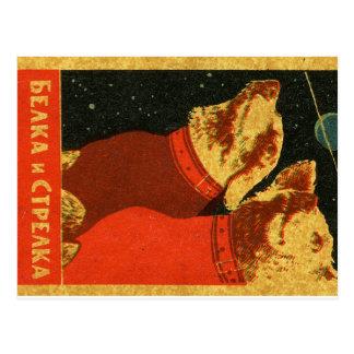 Belka und Strelka Postkarte