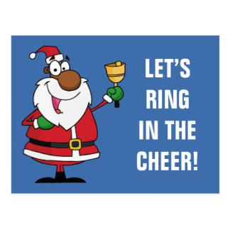Bell-Klingeln schwarzer Weihnachtsmann Postkarte