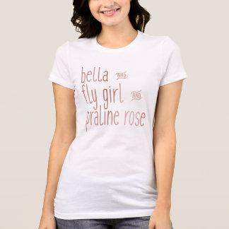 Bella und Fliegen-Mädchen-und Pralinen-Rose T-Shirt