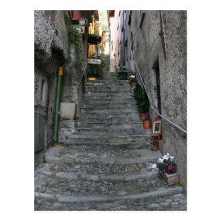 Bellagio, Italien ~ herauf Treppe Postkarte