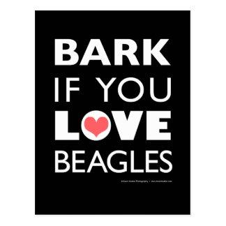 Bellen Sie wenn Sie Liebe-Beagles Postkarte