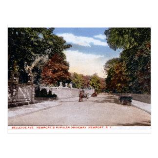 Bellevue Allee., Newport RI Vintag Postkarte