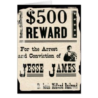 Belohnung für Jesse James Karte