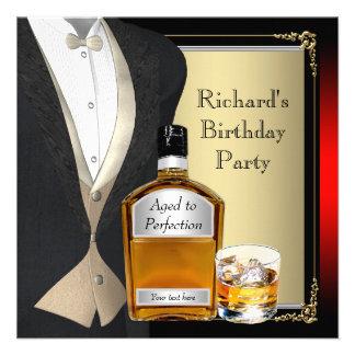 Bemannt Whisky-Geburtstags-Party Personalisierte Einladung