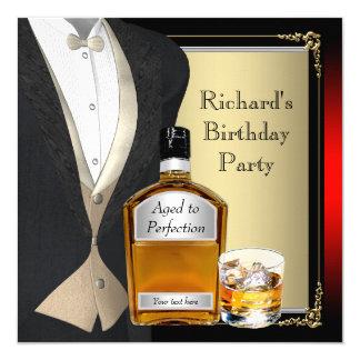 Bemannt Whisky-Geburtstags-Party Quadratische 13,3 Cm Einladungskarte