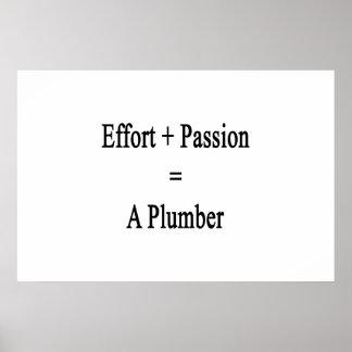 Bemühung plus Leidenschaft entspricht einem Poster