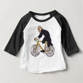 Ben Franklin auf einem Fahrrad mit Dollar-Rädern Baby T-shirt