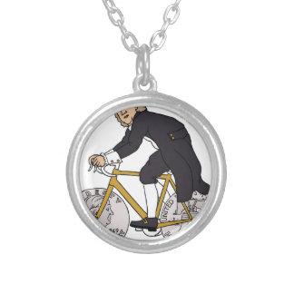 Ben Franklin auf einem Fahrrad mit Dollar-Rädern Versilberte Kette