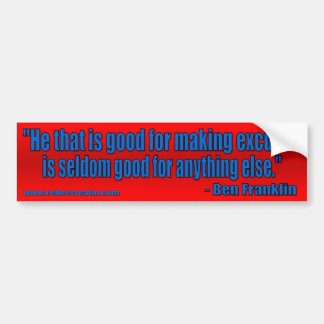 Ben Franklin - Entschuldigungen (rot) Autoaufkleber