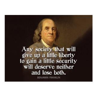 Ben Franklin: Irgendeine Gesellschaft, die… Postkarte